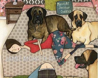 Mastiff Slobber Cuddles, brindle mastiff, big dog art print, man sleeping on floor, women in bed with dog, pink grey room, daddy boxers