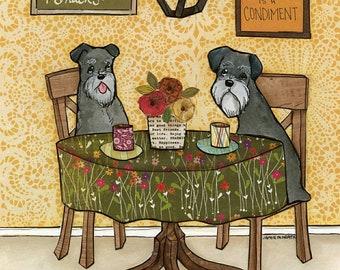 Schnauzers and Snacks, schnauzer dog art print