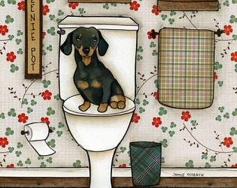 Weenie Pot, black and tan dachshund