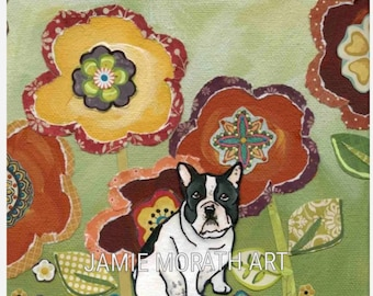 French Bull Dog, frenchie dog art portrait painting with mixed media floral pattern background, ornament available, black and white frenchie
