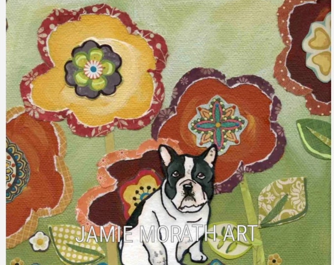 French Bull Dog art print with mixed media flower background