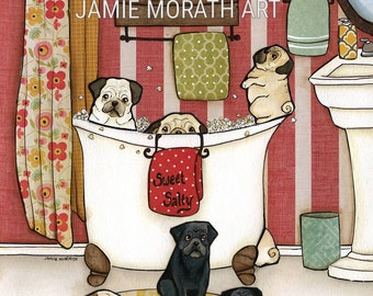 Pug Popcorn Bath, butter Popcorn themed bathroom art print with black and fawn pugs, floral shower curtain and striped walls, pug with rolls