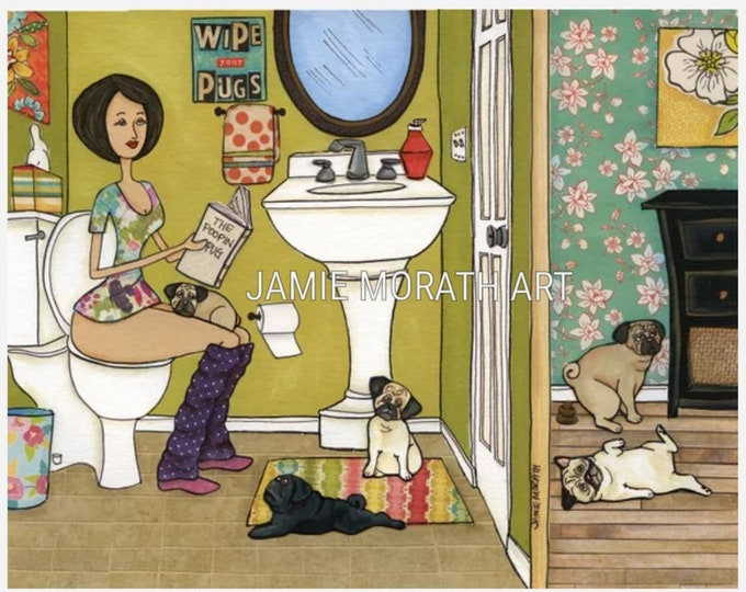 The Poopin Pug, black pug, fawn pug, funny bathroom toilet wall ART print with pugs, ornaments available, lady on toilet reading paper