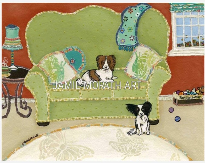Papillion Love, green couch with papillion dogs in family room, wall art print, ornaments butterfly pillow and rug, brown and white black