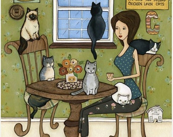 Meow, Cats at the table, cat mom eating with her cats