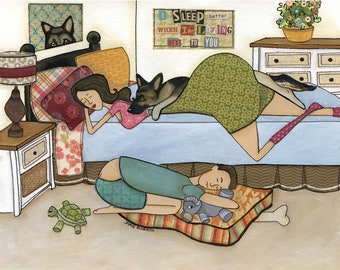 Sleep Better, German Shepherd dog art print, GSD, lady laying in bed man on floor in dog bed, turtle elephant dog toy