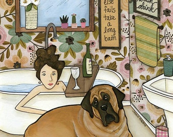Long Bath, English Mastiff dog bathroom art print