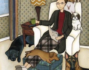 Together, dachshund, bulldog, Shih tzu, black labrador retriever  German Shepherd dog art