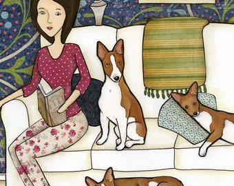 Admit it, Life Would Be Boring Without Us, basenji dog art print, living room family painting, portrait, pattern dog bed with daisies