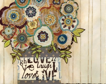 Love To Laugh, mixed media flower art print