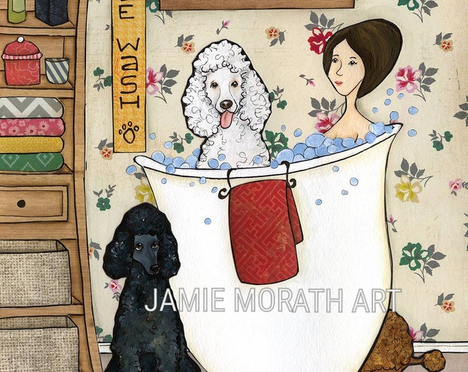 Washin Poodles, with lady in bathtub with 3 standard Poodles, white, black, brown, bathroom wall art print decor, bubble bath, dog painting