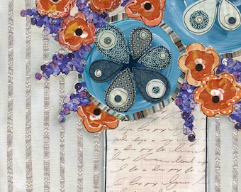 Remember Me, mixed media flower art