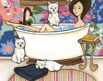 Westie Wash, Mom taking a bath with her wastes keeping guard for her, white tub, three wastes