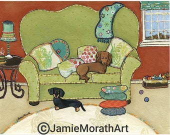 Dachshund Love, Dachshund Art, Wiener dogs on couch, mixed media weenies, Doxies, Sale!