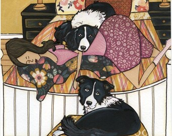 Sleeping Border, border collie dog art print