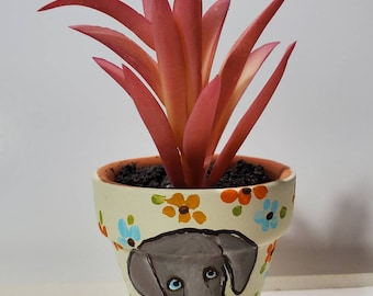 Weimaraner mini pot with artificial succulent