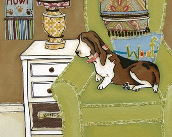Sweet Basset, basset hound dog laying in green chair dog art print