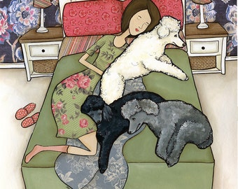 Napping Poodles, lady in bed sleeping with standard size poodle, dog art print painting