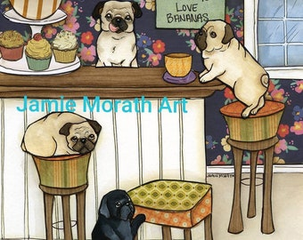 Monkeys Love, Pugs eating pastries, Fawn and black pugs monkeying around