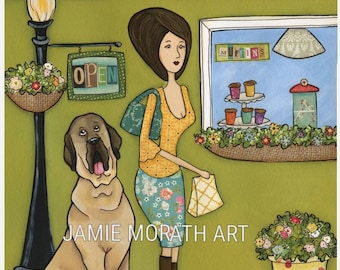 Mastiffs and Muffins, store front awning with lady shopping with mastiff dog, painting art print, ornaments available, floral skirt