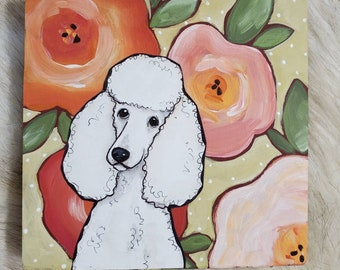 Poodle painting on reclaimed wood