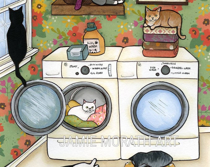Featured listing image: Soft Kitty, Warm Kitty, Little Ball of Fur, quote, saying, cat kitten laundry room art print, washroom cat painting wall decor