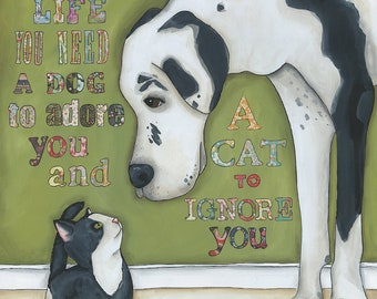 Balanced Life, for a balanced life you need a dog to adore you and a cat to ignore you, black and white Great Dane, tuxedo cat