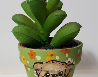 Pekingese planter with artificial succulent