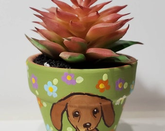 Dachshund planter with artificial succulent