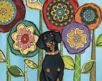 Weenie Love, black and tan dachshund dog art print portrait with mixed media flower pattern background available in ornaments