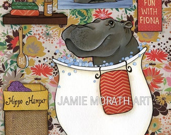 Fiona the hippo at Cincinnati Zoo taking bubble bath in bathroom bathtub, hippo hamper, bubble wash, cute kids bathroom art wall decor, fun
