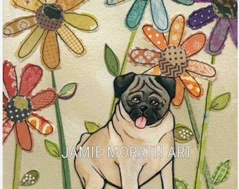 Pug, fawn pug portrait painting with mixed media flower background