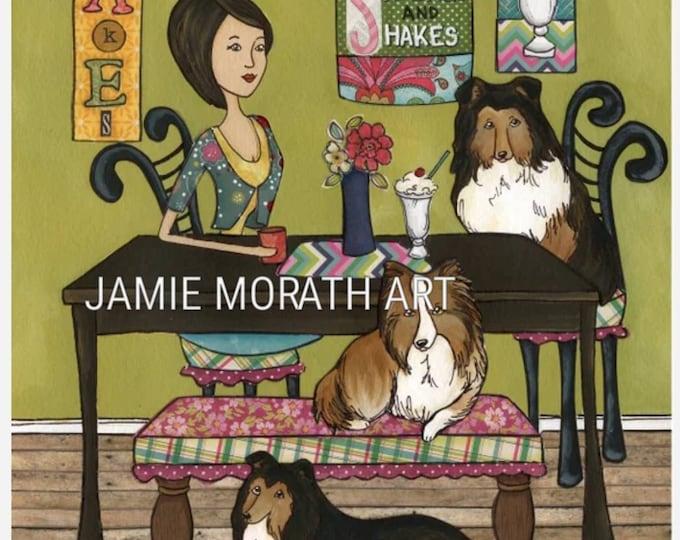 Shelties and Shakes, lassie dog, kitchen milkshake dog art print, dining wall art painting, ice cream, Christmas dog ornaments