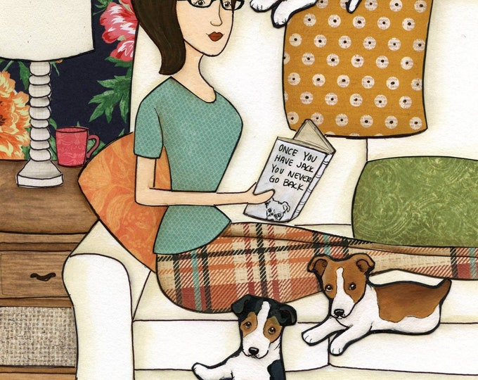 Never Go Back, Once you have Jack you, Jack Russell terrier dog art print with lady on couch reading book in living room w floral wallpape