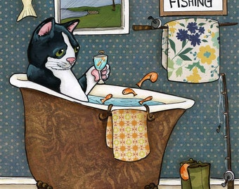 Cat Fishing art print