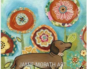Doxie dog art print, dachsund with flower mixed media background, red dachshund art