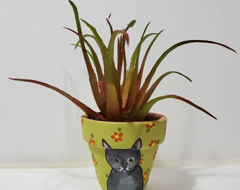 Gray Tabby Planter with artificial succulent