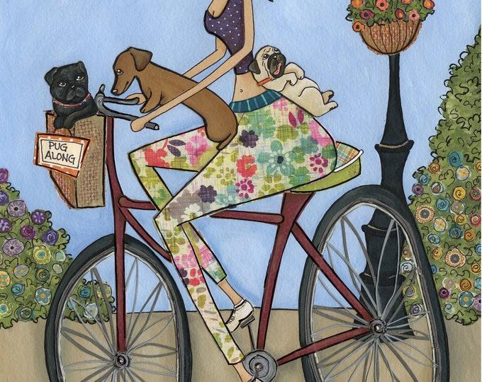 Pug Along, dog art print