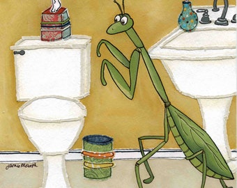 Prey You Learn, preying mantis, cute kids bathroom print, children art, I pray you learn to put down the seat