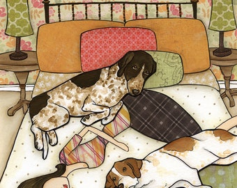 Kicking Feet. With dog cuddles, snores and kicking feet. German Pointer dog art bedroom