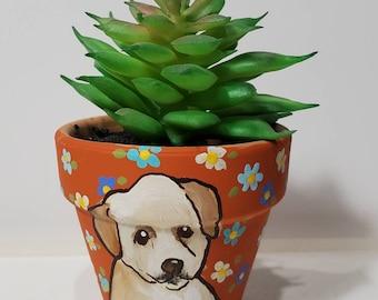 Retriever handpainted planter with artificial succulent