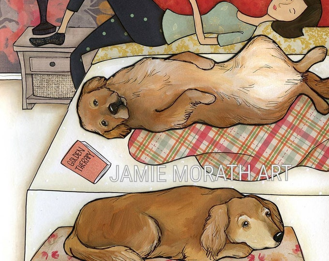 Golden Therapy, with two Golden Retriever sleeping on bed with lady in bedroom, funny bedroom dog art print, golden girl, golden boy