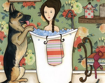 Taking A Bath, I followed my heart, it led me to you, German Shepherd dog art print GSD, Bathroom art, lady in tub with dog outside bath