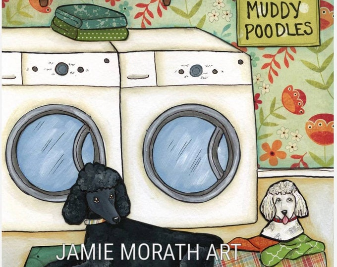 Poodle Wash, muddy poodle dog art print, ornaments available, washer and dryer, floral wallpaper in laundry room, black white poodle