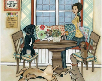 Coffee and Rescues, lady in kitchen with rescue dogs, black Labrador, German Shepherd, Pitbull dog, jack Russel, long haired dachshund