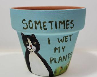 Blue Wet My Plants pot