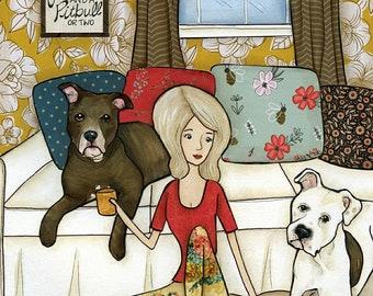 Love And A Pitbull, pitbull terrier dog art print