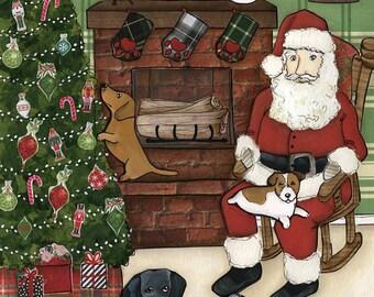 Santa Paws, We believe in Santa Paws, dachshund, Jack Russell, black labrador, shih tzu Christmas