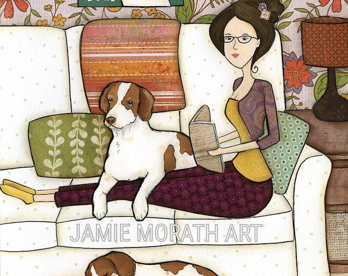I Have Plans, Sorry, I can't I have plans with my dogs, Brittany Spaniel dog breed,  dogs on couch with lady reading book, big dog bed