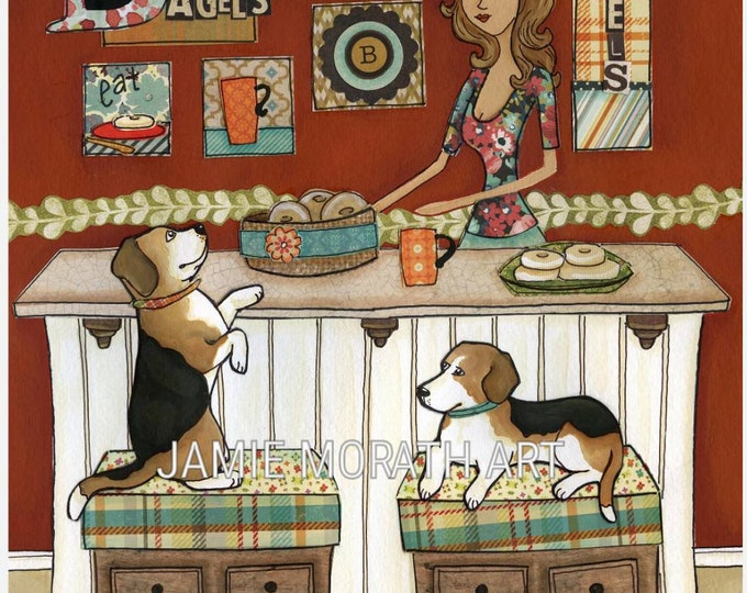 Beagles and Bagels, beagle dog art print, available in wood ornament, bagel kitchen art decor